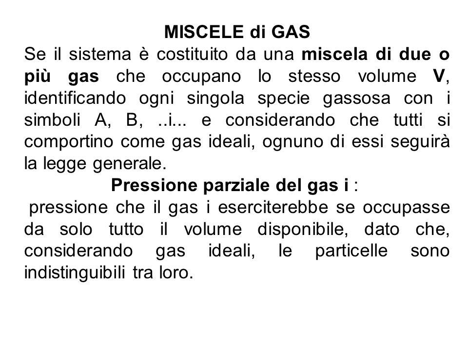 Pressione parziale del gas i :