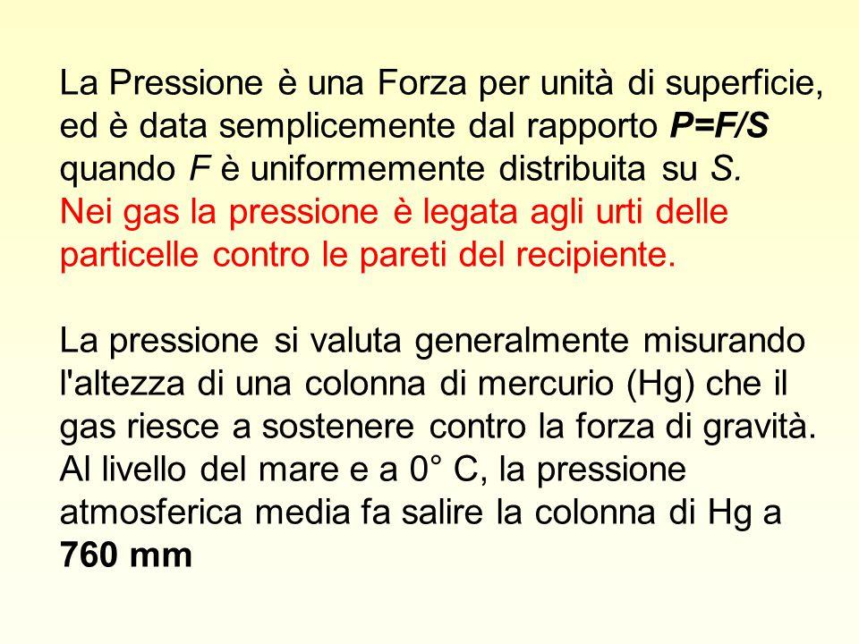 La Pressione è una Forza per unità di superficie, ed è data semplicemente dal rapporto P=F/S quando F è uniformemente distribuita su S. Nei gas la pressione è legata agli urti delle particelle contro le pareti del recipiente.