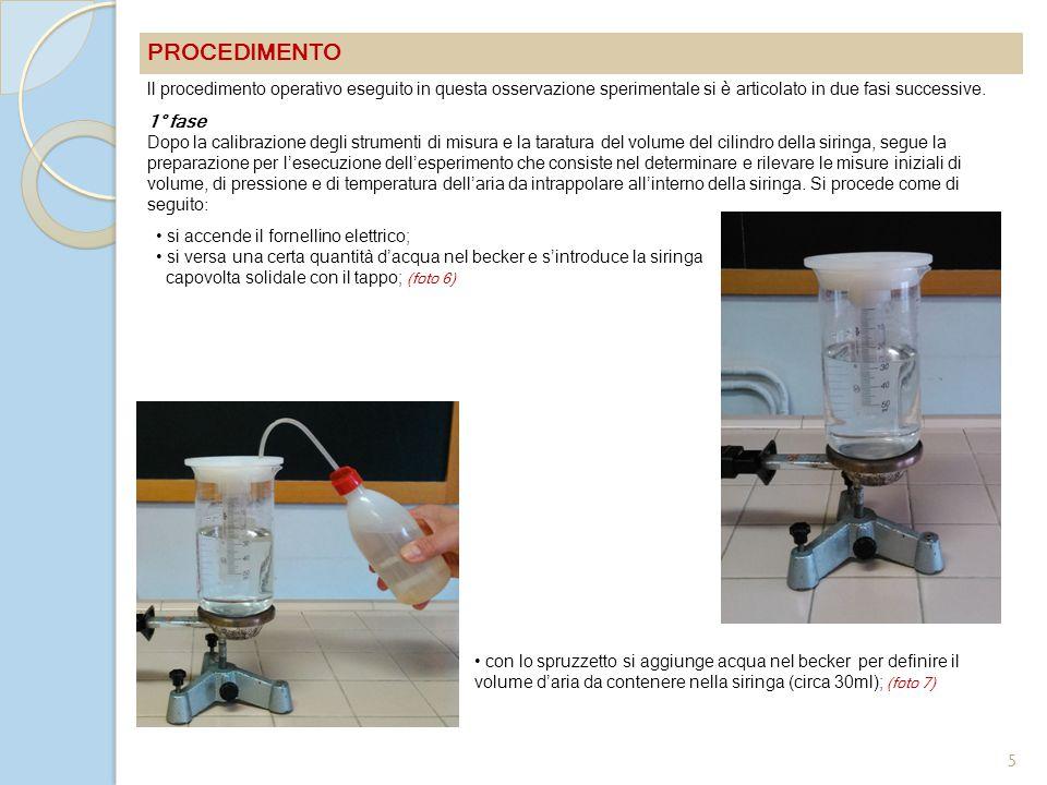 PROCEDIMENTO ll procedimento operativo eseguito in questa osservazione sperimentale si è articolato in due fasi successive.