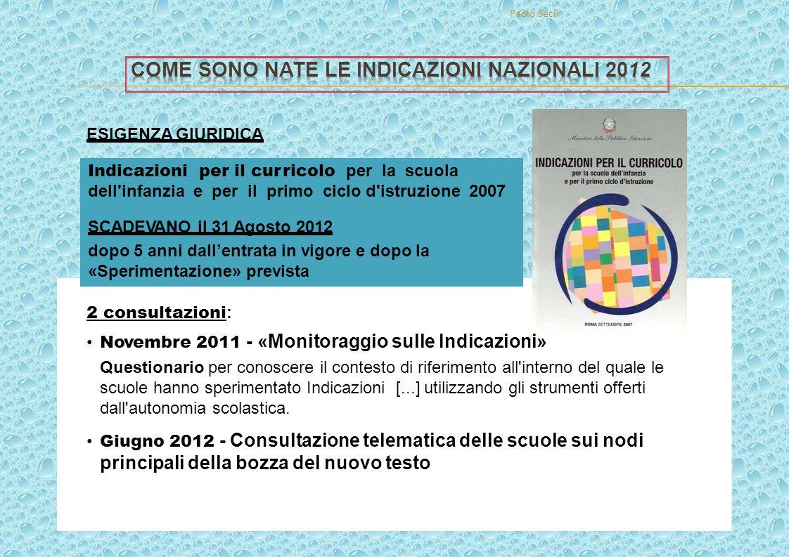 Come sOno nate le Indicazioni nazionali 2012