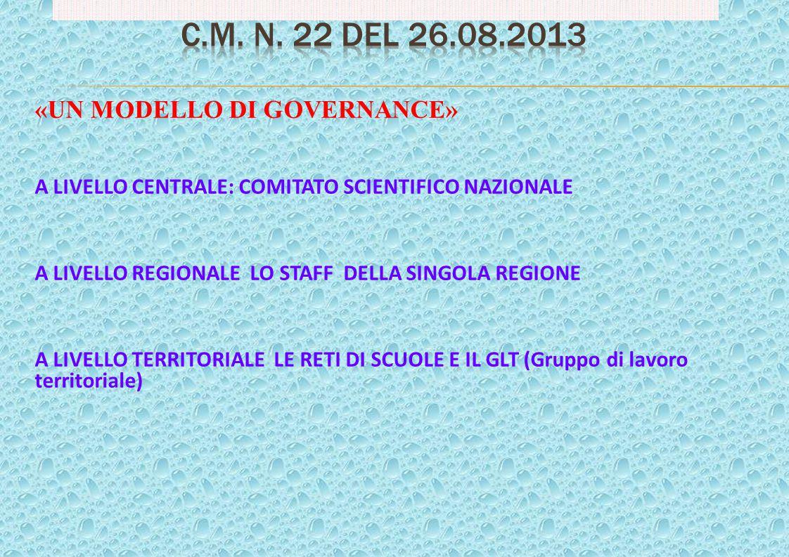 C.M. n. 22 del 26.08.2013 «UN MODELLO DI GOVERNANCE»