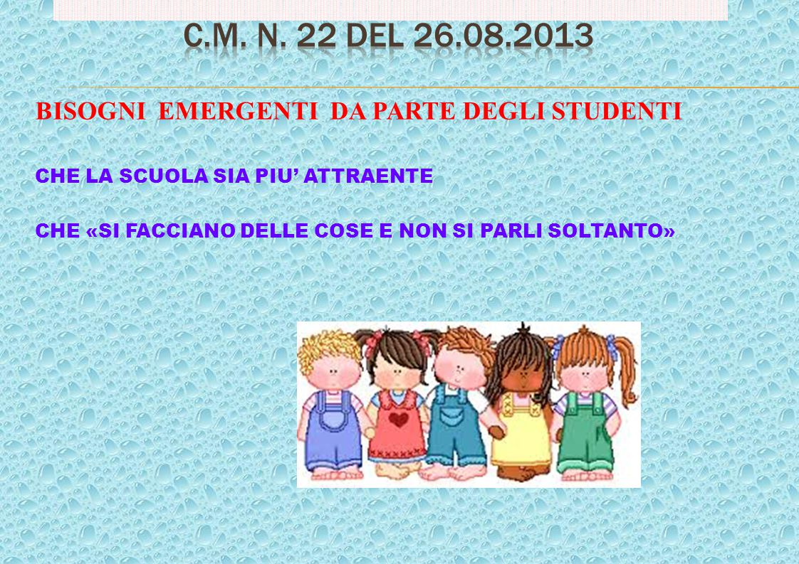C.M. n. 22 del 26.08.2013 BISOGNI EMERGENTI DA PARTE DEGLI STUDENTI