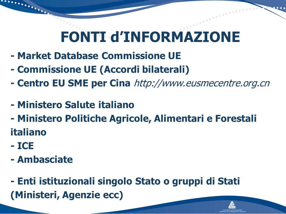 FONTI d'INFORMAZIONE - Market Database Commissione UE