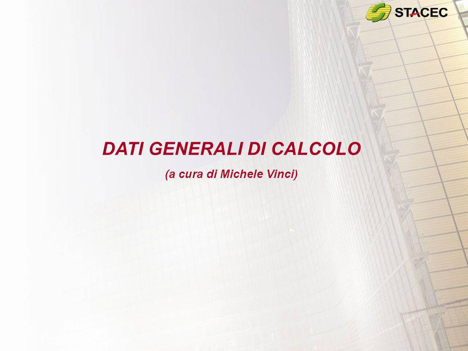 DATI GENERALI DI CALCOLO (a cura di Michele Vinci)