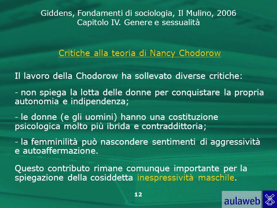 Critiche alla teoria di Nancy Chodorow