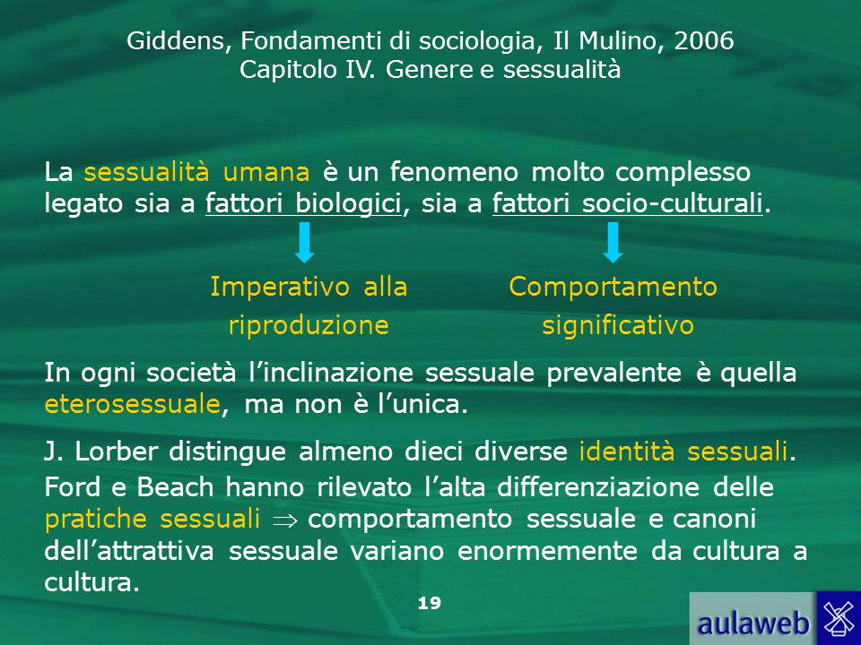 La sessualità umana è un fenomeno molto complesso legato sia a fattori biologici, sia a fattori socio-culturali.