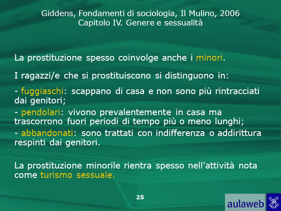 La prostituzione spesso coinvolge anche i minori.