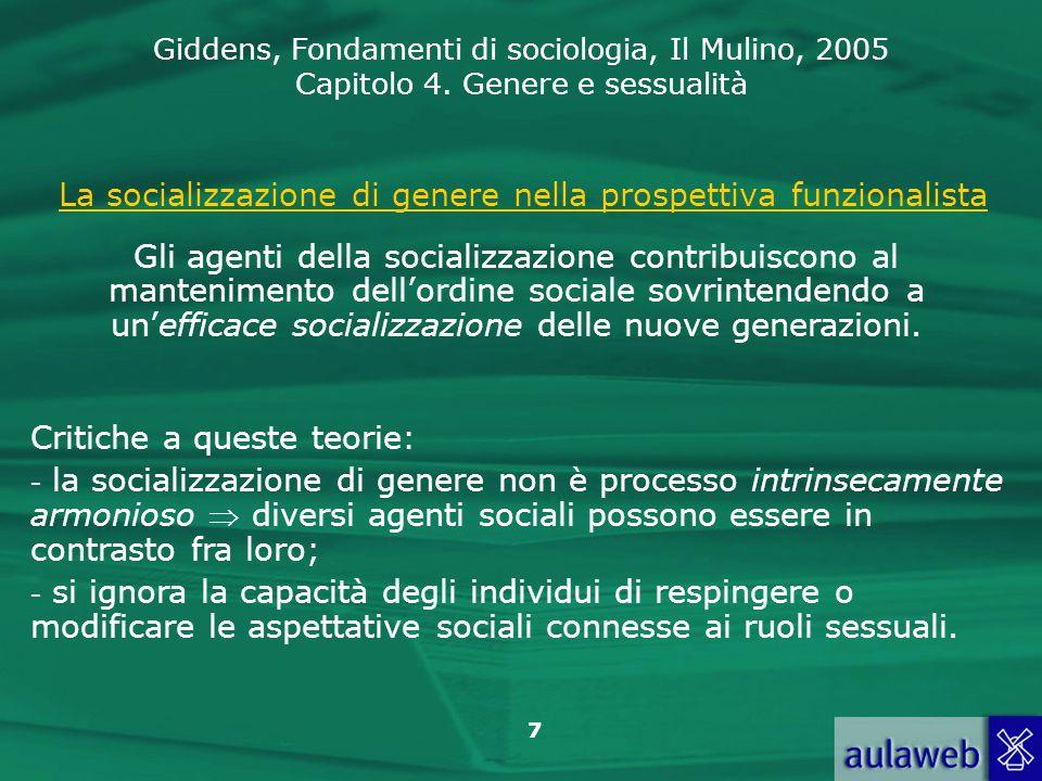 La socializzazione di genere nella prospettiva funzionalista
