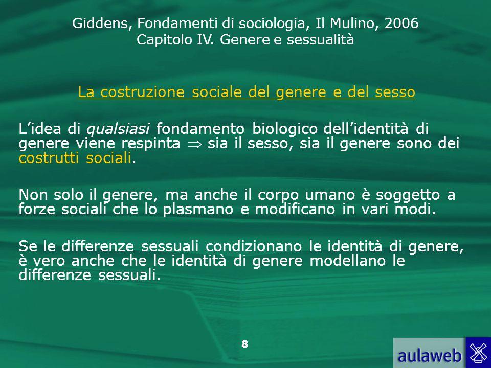 La costruzione sociale del genere e del sesso
