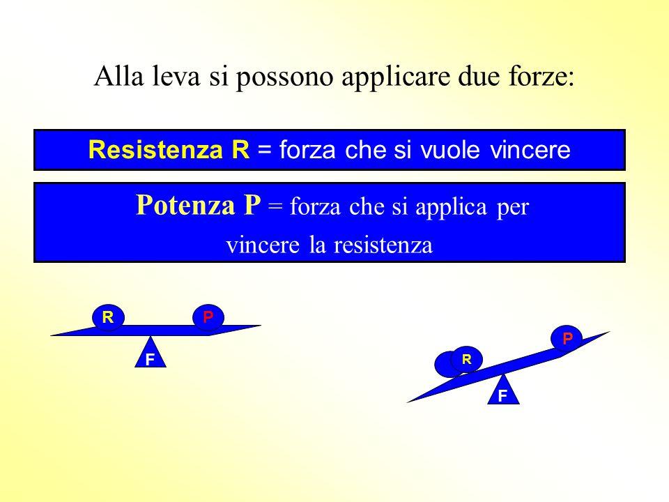 Alla leva si possono applicare due forze: