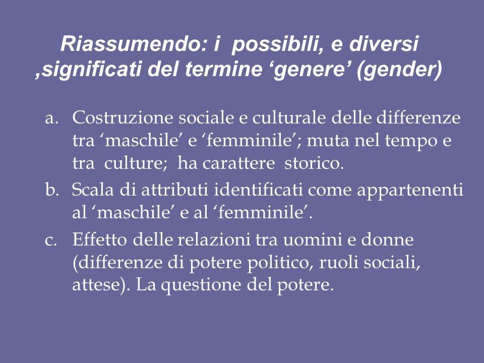 Riassumendo: i possibili, e diversi ,significati del termine 'genere' (gender)
