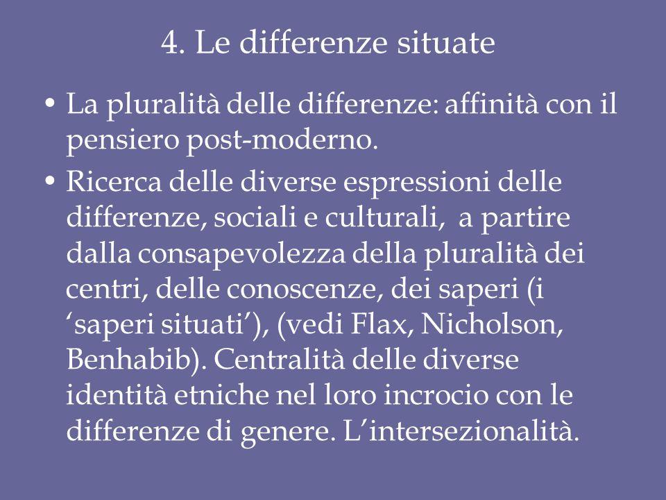 4. Le differenze situate La pluralità delle differenze: affinità con il pensiero post-moderno.