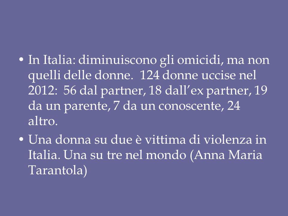 In Italia: diminuiscono gli omicidi, ma non quelli delle donne