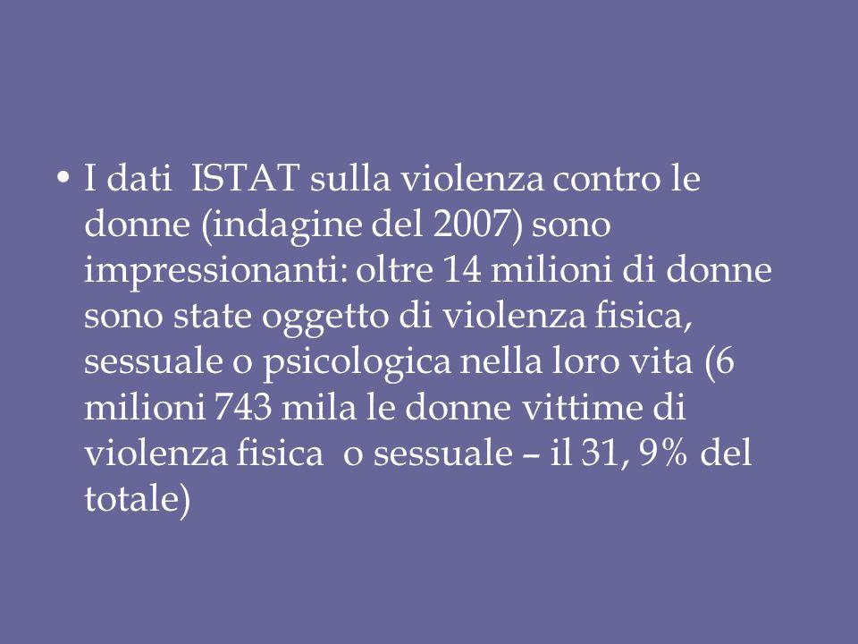 I dati ISTAT sulla violenza contro le donne (indagine del 2007) sono impressionanti: oltre 14 milioni di donne sono state oggetto di violenza fisica, sessuale o psicologica nella loro vita (6 milioni 743 mila le donne vittime di violenza fisica o sessuale – il 31, 9% del totale)