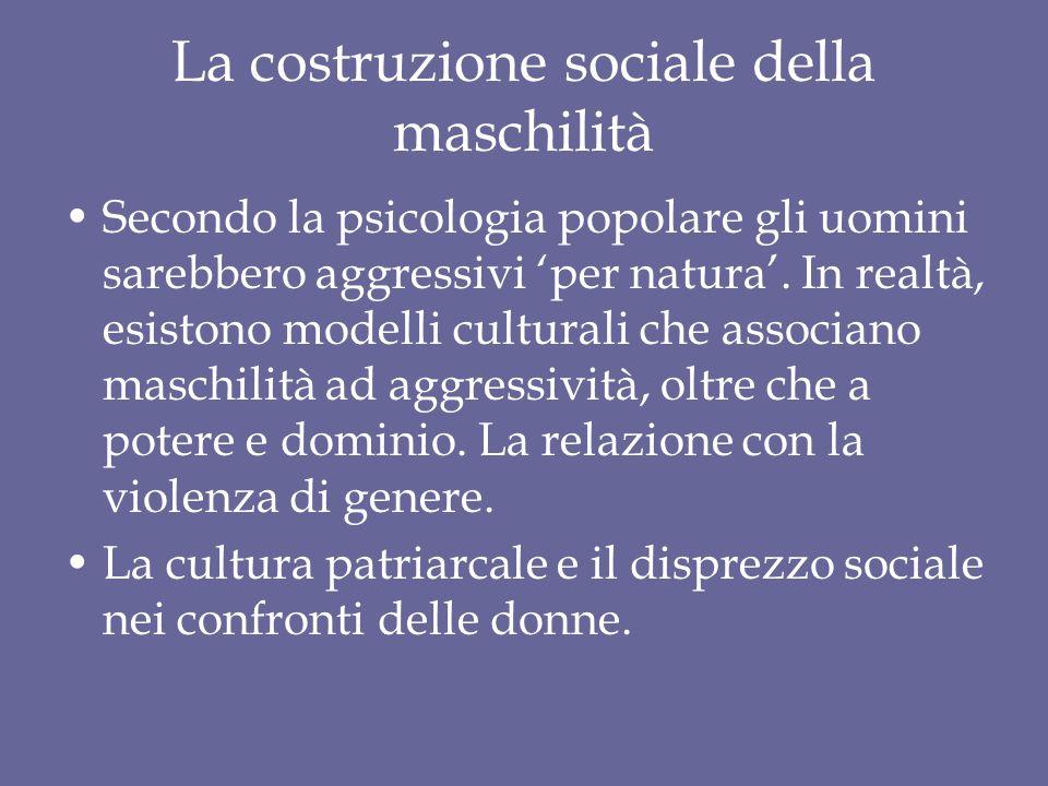 La costruzione sociale della maschilità