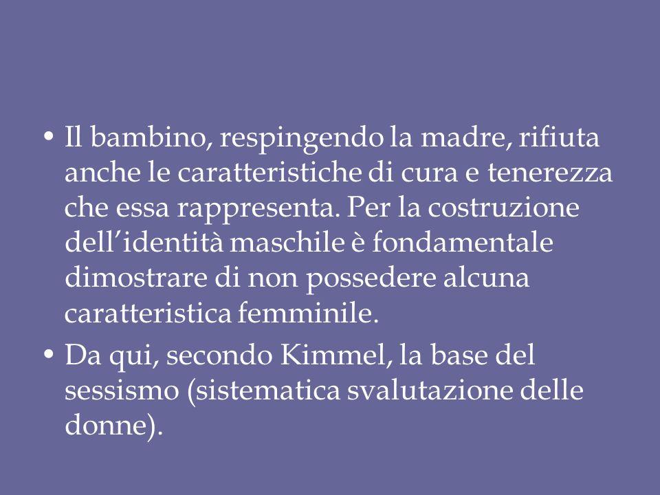 Il bambino, respingendo la madre, rifiuta anche le caratteristiche di cura e tenerezza che essa rappresenta. Per la costruzione dell'identità maschile è fondamentale dimostrare di non possedere alcuna caratteristica femminile.