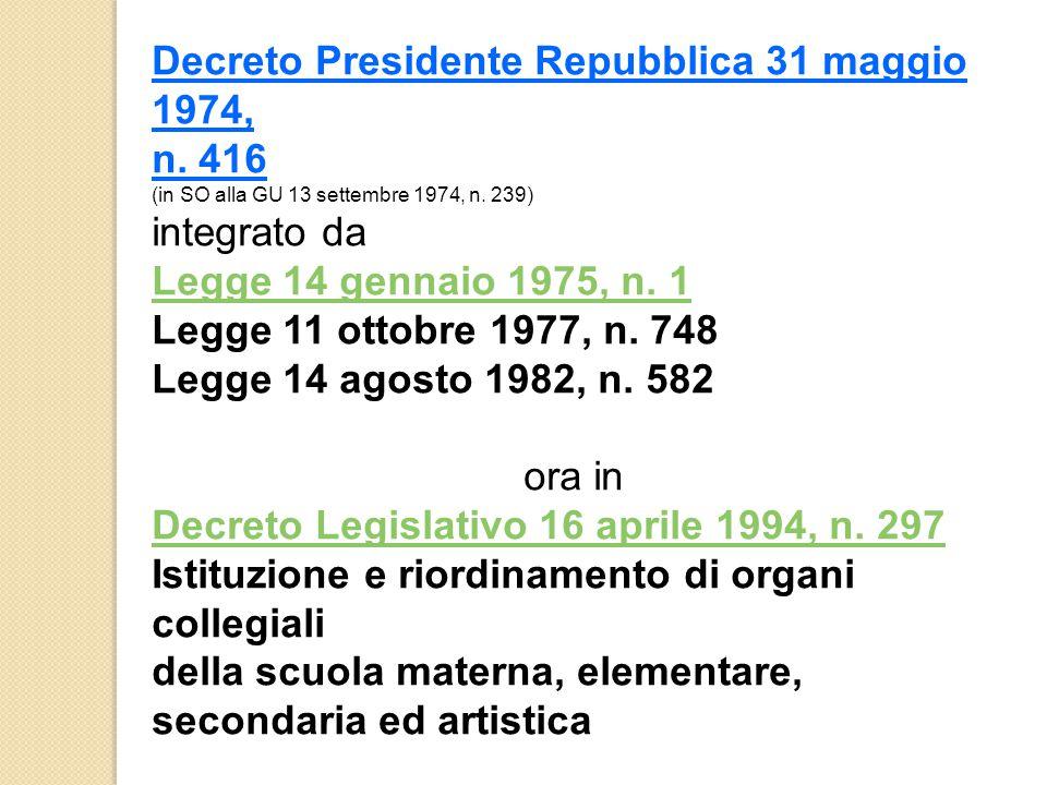 Decreto Presidente Repubblica 31 maggio 1974,