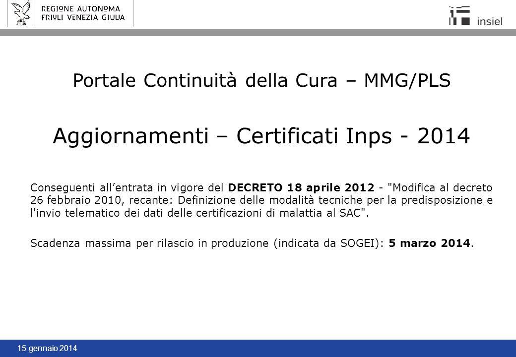 Aggiornamenti – Certificati Inps - 2014