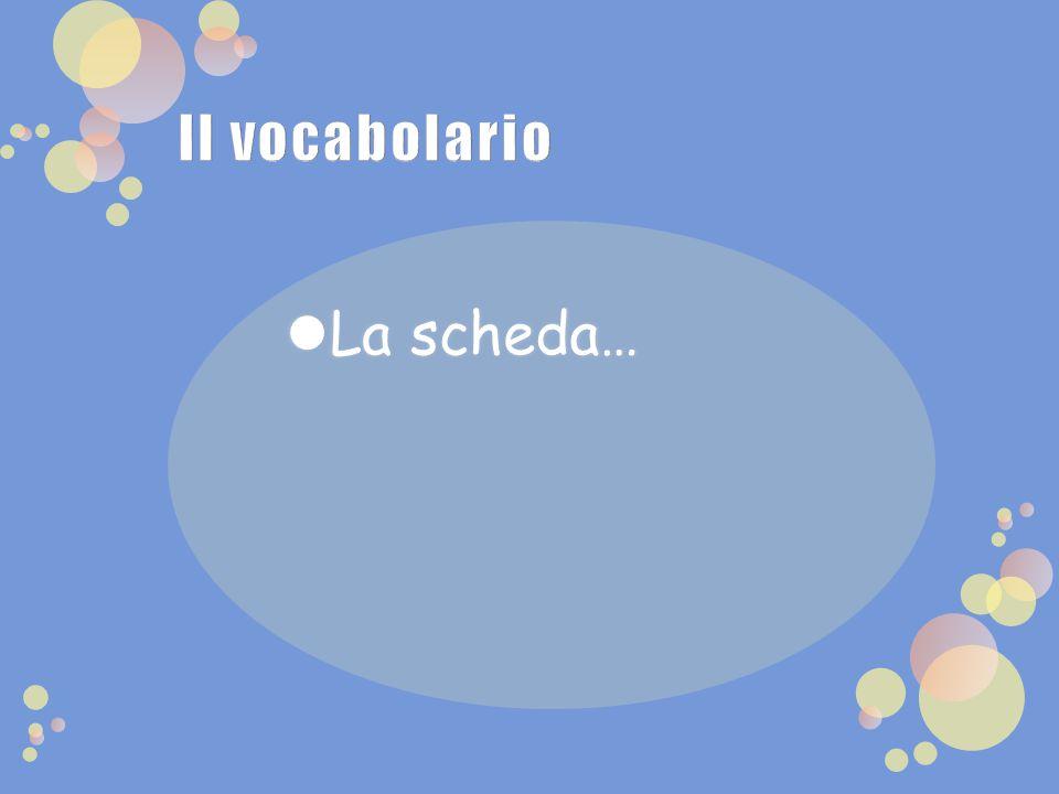 Il vocabolario La scheda…