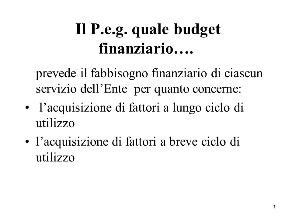 Il P.e.g. quale budget finanziario….