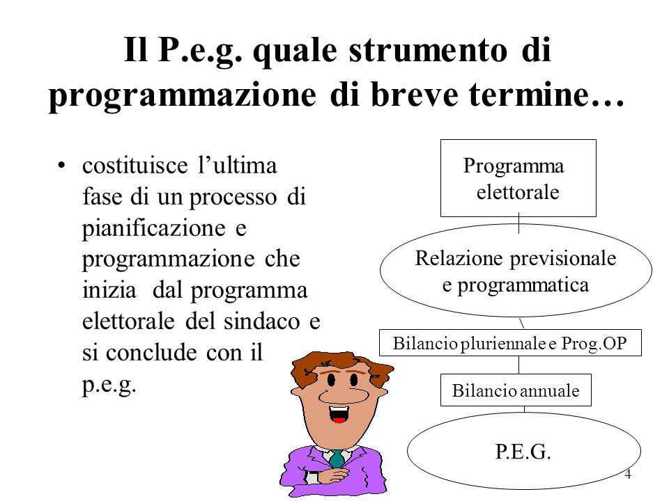Il P.e.g. quale strumento di programmazione di breve termine…