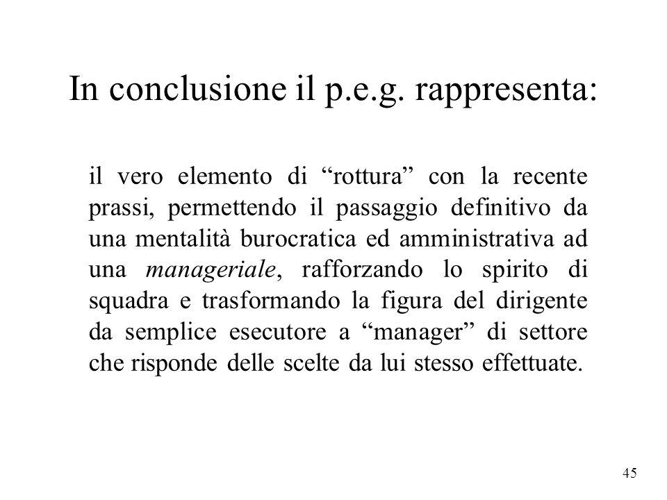 In conclusione il p.e.g. rappresenta: