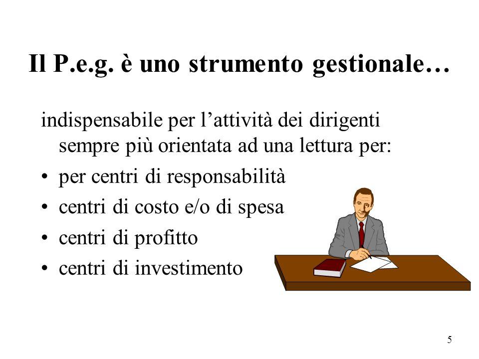 Il P.e.g. è uno strumento gestionale…