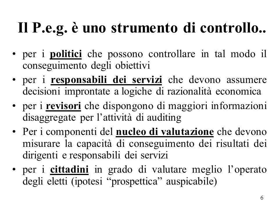 Il P.e.g. è uno strumento di controllo..