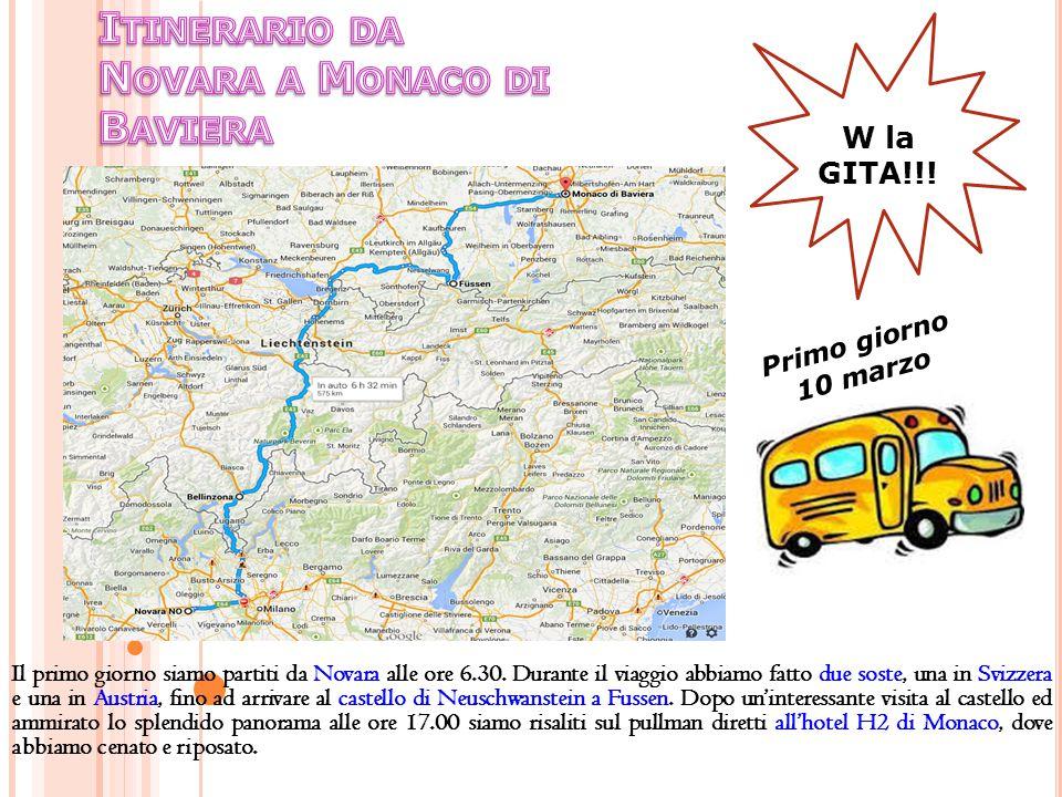 Itinerario da Novara a Monaco di Baviera