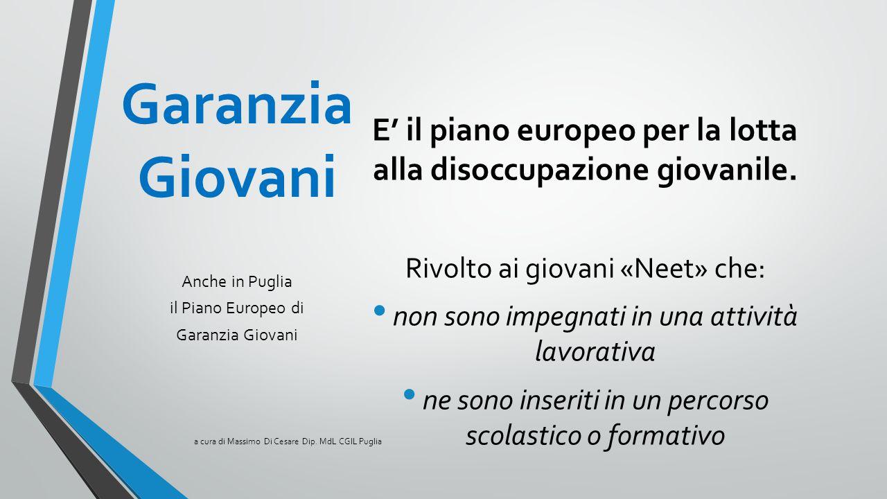 E' il piano europeo per la lotta alla disoccupazione giovanile.