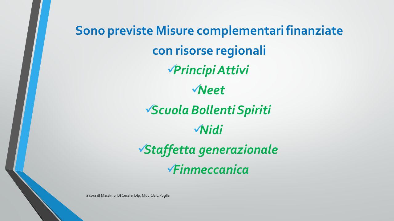Sono previste Misure complementari finanziate con risorse regionali