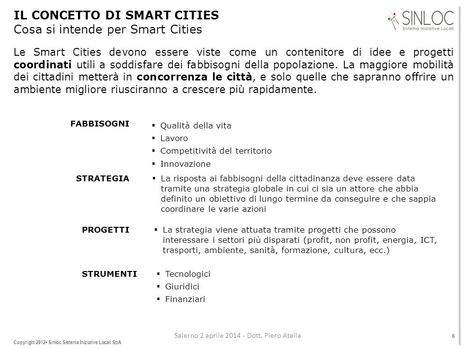 IL CONCETTO DI SMART CITIES Cosa si intende per Smart Cities