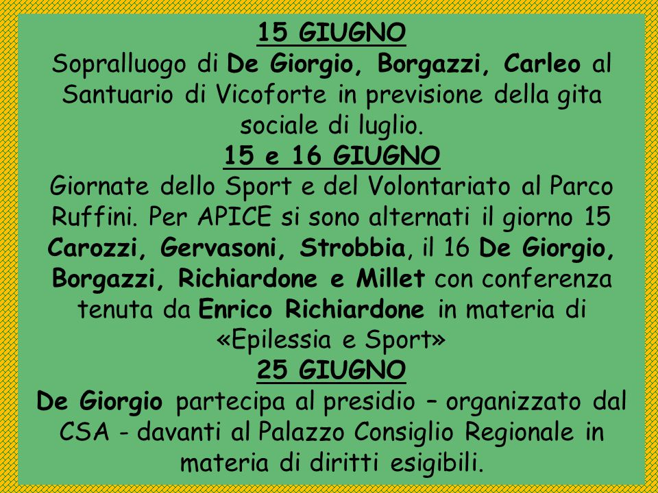15 GIUGNO Sopralluogo di De Giorgio, Borgazzi, Carleo al Santuario di Vicoforte in previsione della gita sociale di luglio.