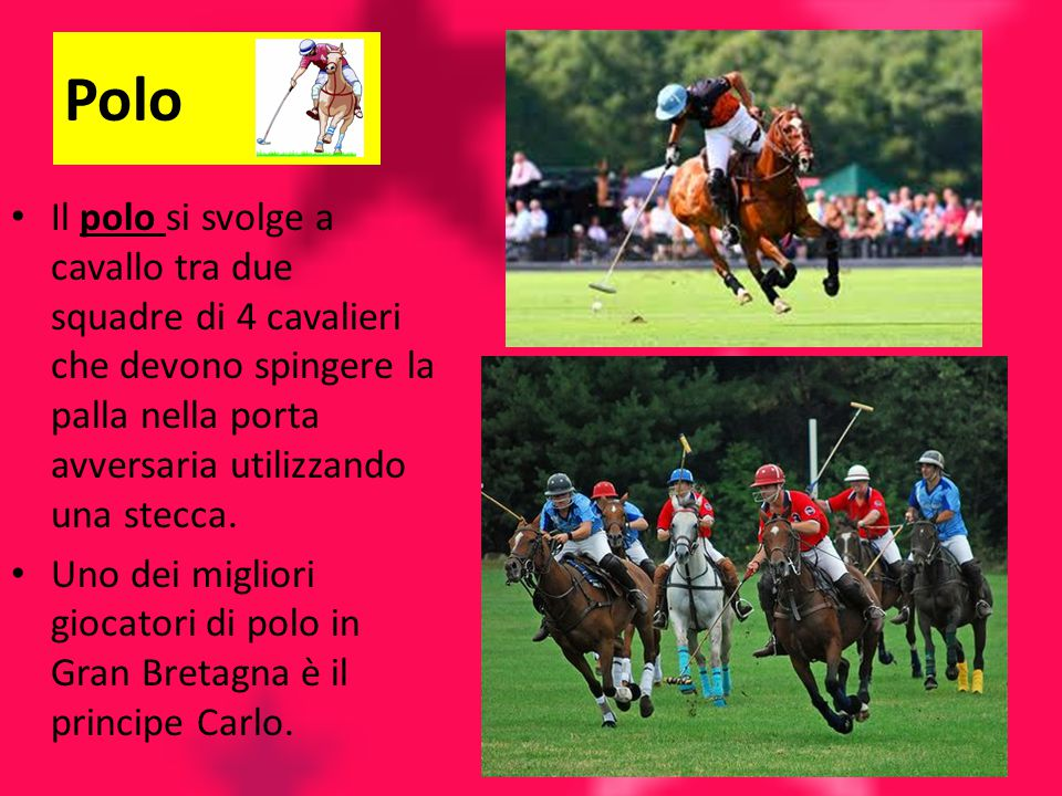 Polo Il polo si svolge a cavallo tra due squadre di 4 cavalieri che devono spingere la palla nella porta avversaria utilizzando una stecca.