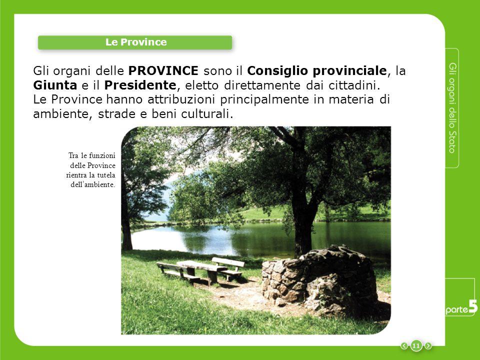 Le Province Gli organi delle PROVINCE sono il Consiglio provinciale, la Giunta e il Presidente, eletto direttamente dai cittadini.