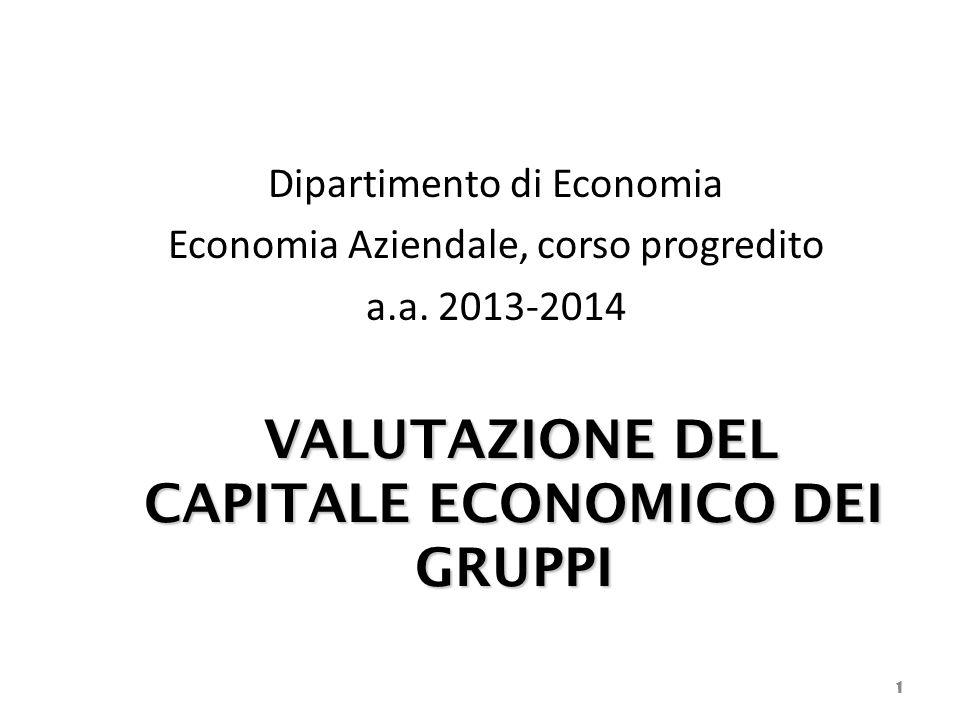 VALUTAZIONE DEL CAPITALE ECONOMICO DEI GRUPPI