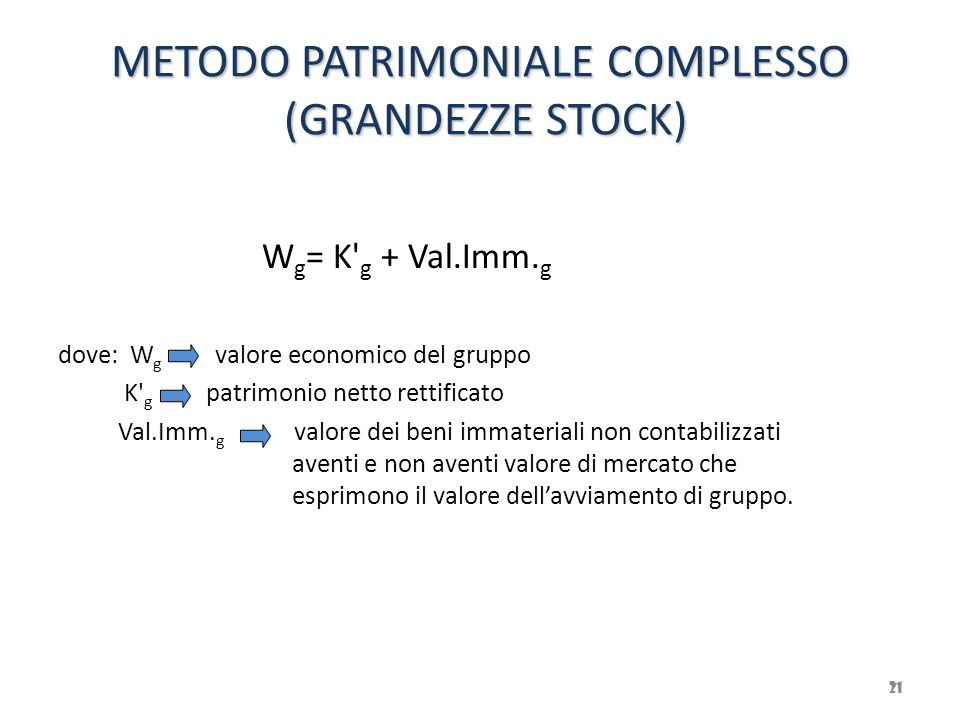 METODO PATRIMONIALE COMPLESSO (GRANDEZZE STOCK)
