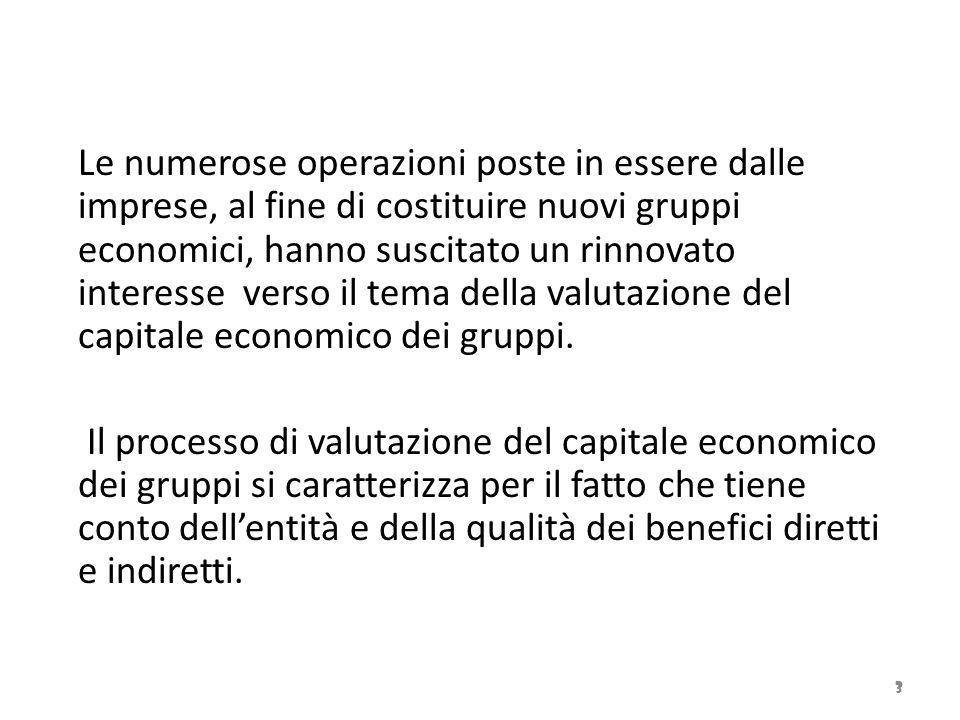 Le numerose operazioni poste in essere dalle imprese, al fine di costituire nuovi gruppi economici, hanno suscitato un rinnovato interesse verso il tema della valutazione del capitale economico dei gruppi.