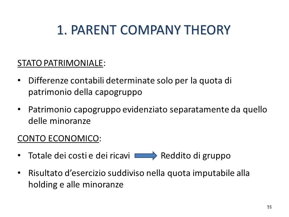 1. PARENT COMPANY THEORY STATO PATRIMONIALE: