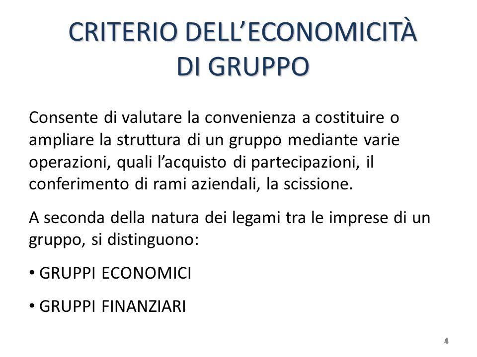 CRITERIO DELL'ECONOMICITÀ DI GRUPPO