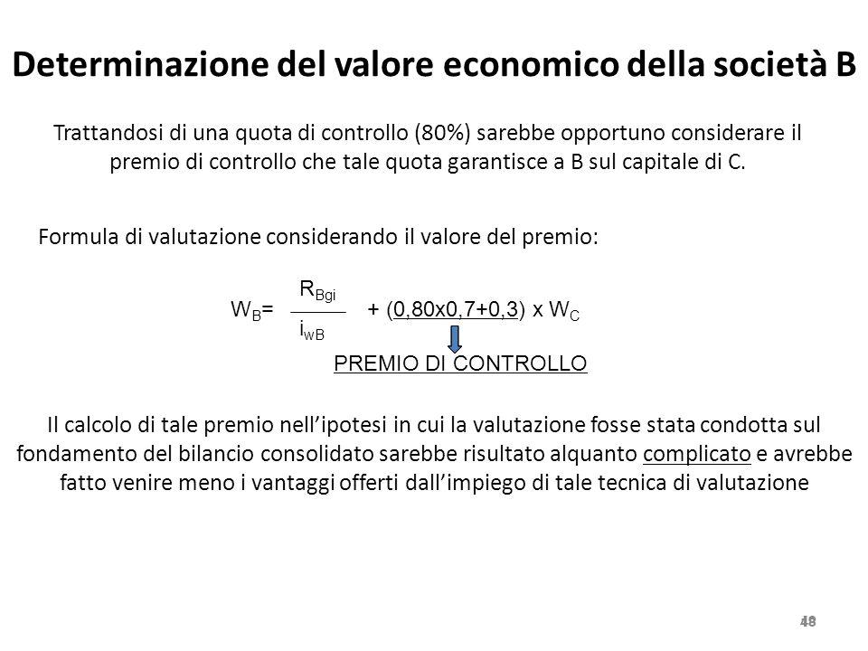 Determinazione del valore economico della società B