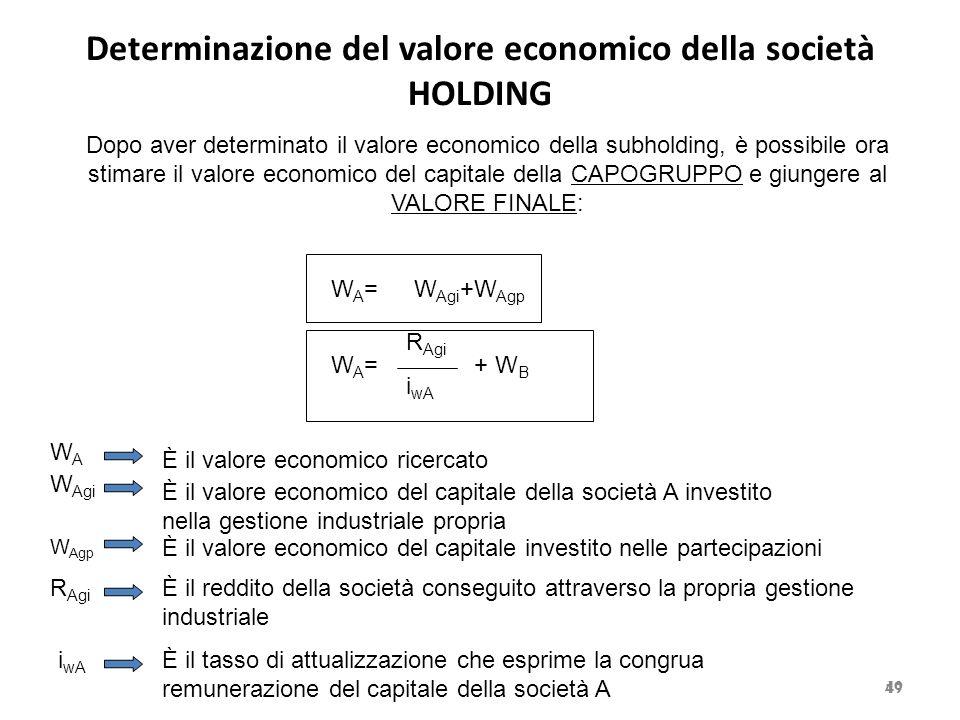 Determinazione del valore economico della società HOLDING