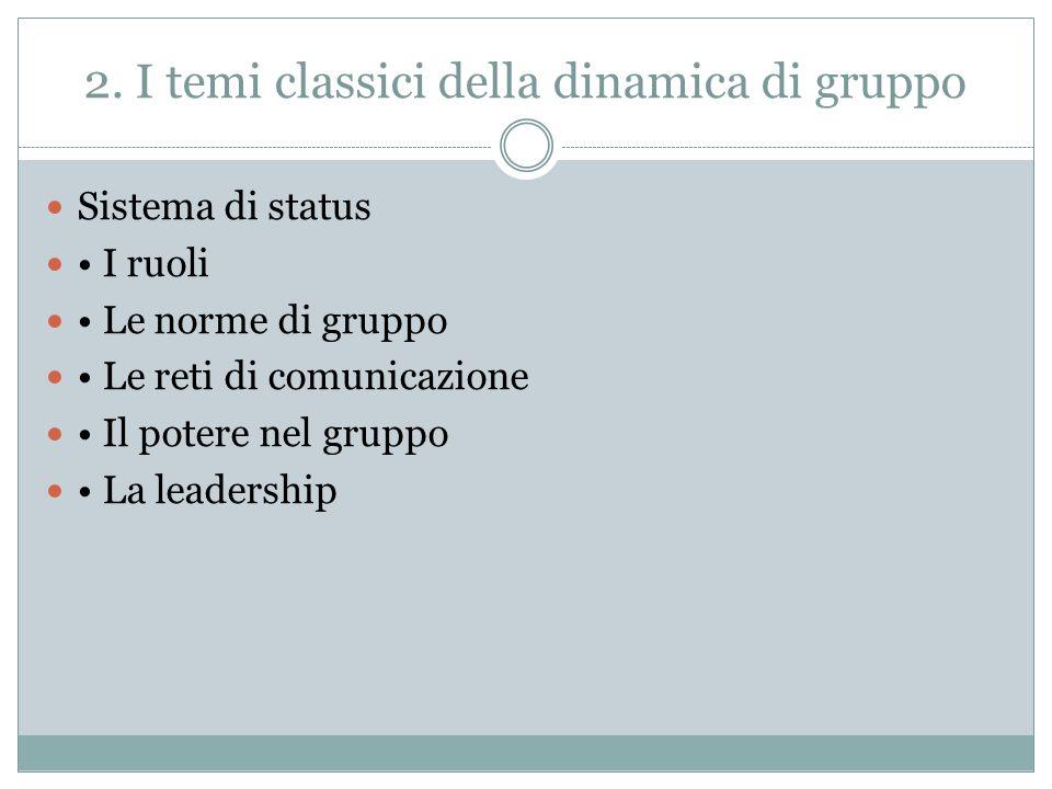 2. I temi classici della dinamica di gruppo