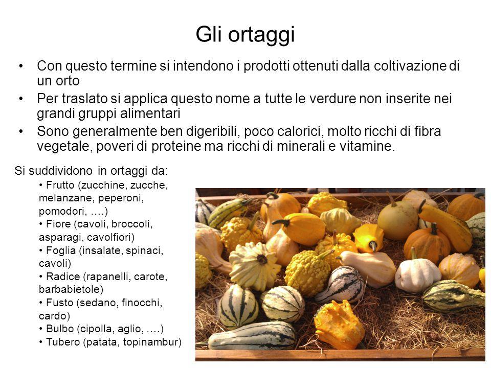 Gli ortaggi Con questo termine si intendono i prodotti ottenuti dalla coltivazione di un orto.