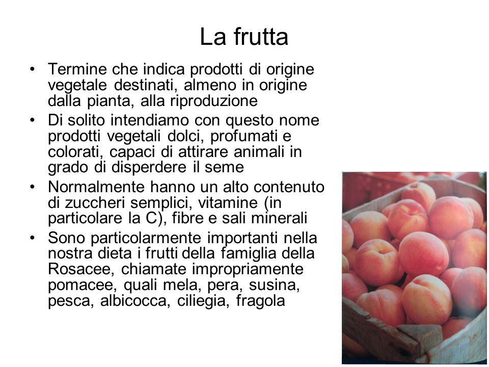 La frutta Termine che indica prodotti di origine vegetale destinati, almeno in origine dalla pianta, alla riproduzione.