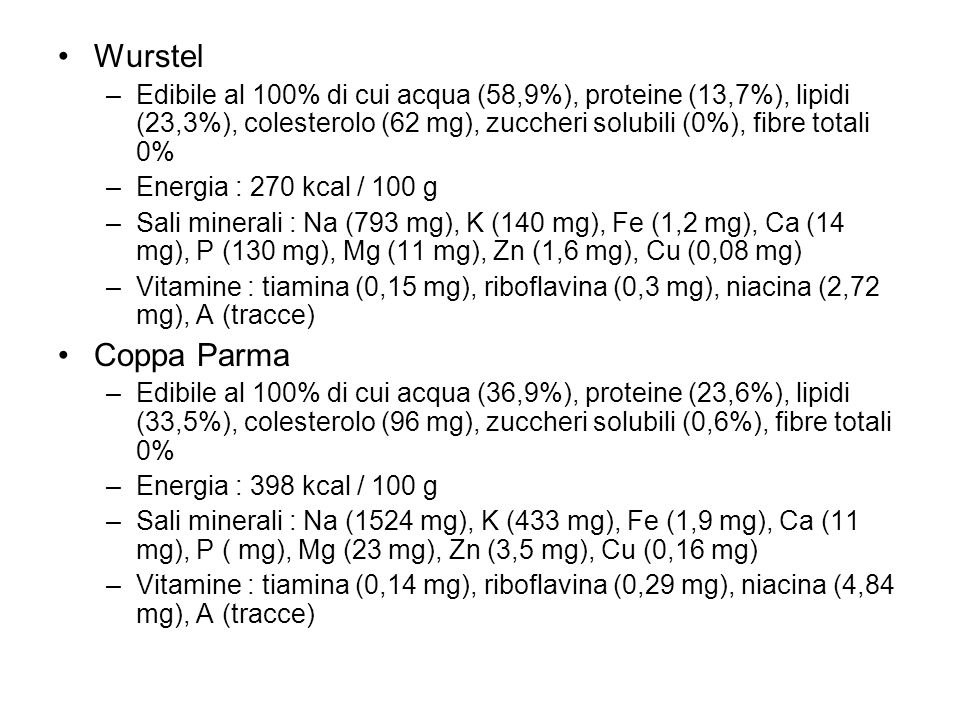 Wurstel Edibile al 100% di cui acqua (58,9%), proteine (13,7%), lipidi (23,3%), colesterolo (62 mg), zuccheri solubili (0%), fibre totali 0%