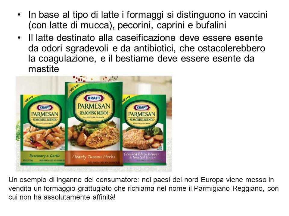 In base al tipo di latte i formaggi si distinguono in vaccini (con latte di mucca), pecorini, caprini e bufalini