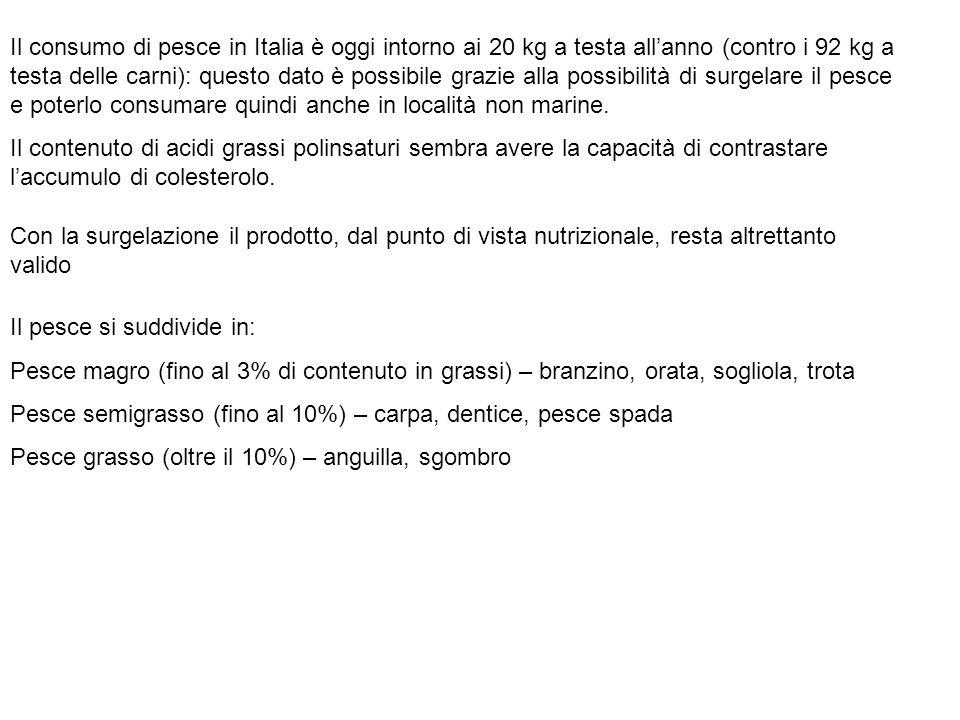 Il consumo di pesce in Italia è oggi intorno ai 20 kg a testa all'anno (contro i 92 kg a testa delle carni): questo dato è possibile grazie alla possibilità di surgelare il pesce e poterlo consumare quindi anche in località non marine.