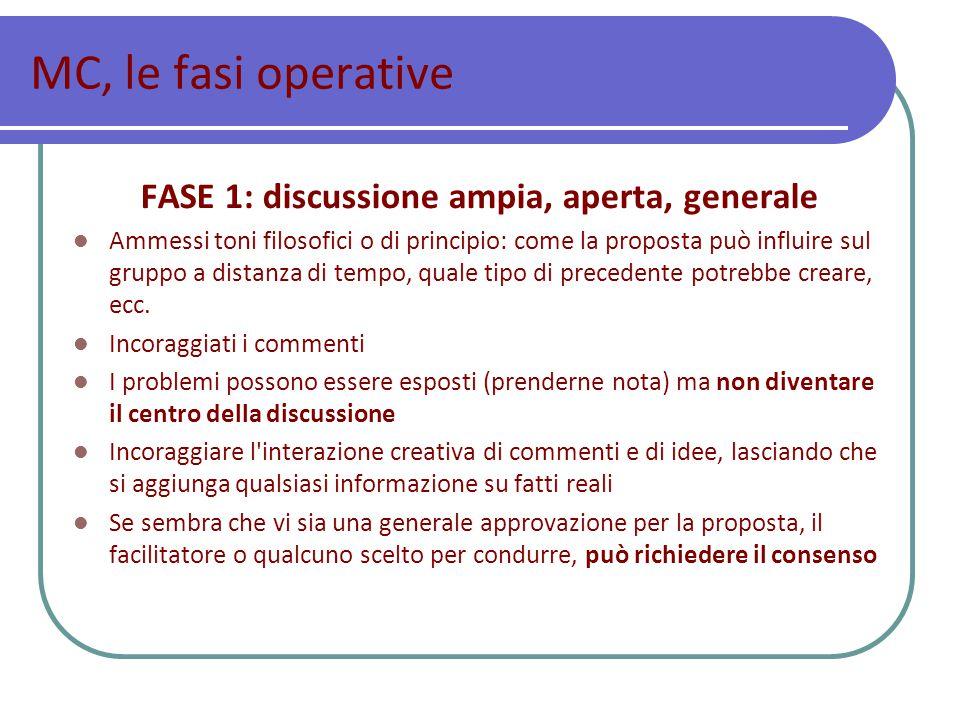 FASE 1: discussione ampia, aperta, generale