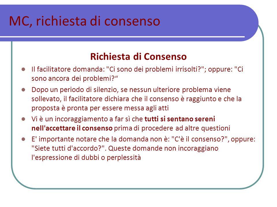 MC, richiesta di consenso